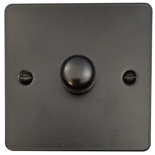 G&H FFB11 Flat Plate Matt Black 1 Gang 1 or 2 Way 40-400W Dimmer Switch